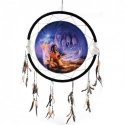 ATTRAPE-RÊVES LOUP ET NATIVE AMERINDIENNE 62 cms