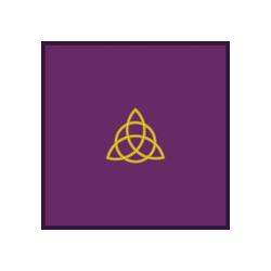 Tapis velours violet bordures satin 80X80 cms - Triquetra brodée