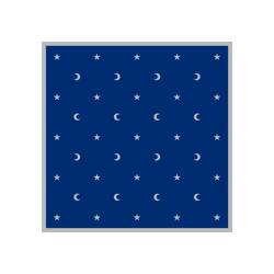 Tapis 80X80 Velours bordure satin Bleu lunes et étoiles