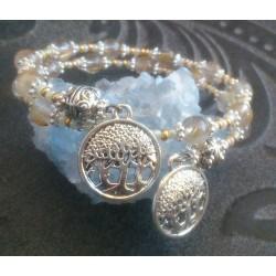 Bracelet 2 rangs perles de Quartz rutile et breloques arbre de vie