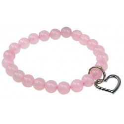 "Bracelet ""Art de la chance"" Quartz rose breloque coeur"