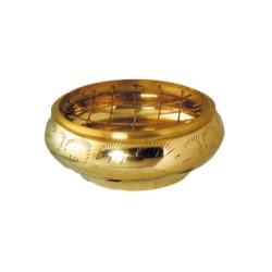 Brûle-encens rond laiton doré