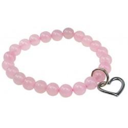 """Bracelet """"Art de la chance"""" Quartz rose breloque coeur"""
