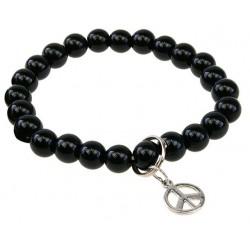 """Bracelet perles d'Onyx noir """"Art de la chance"""" breloque peace&love"""
